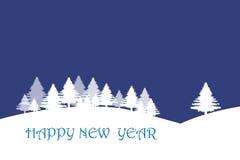 Paesaggio di inverno nel fondo blu scuro Fotografia Stock Libera da Diritti