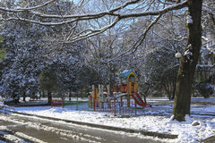 Paesaggio di inverno nella città Immagine Stock