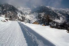 Paesaggio di inverno nella valle d'Aosta Fotografie Stock