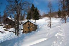 Paesaggio di inverno nella valle d'Aosta Immagine Stock