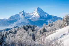 Paesaggio di inverno nelle alpi bavaresi con il massiccio di Watzmann, Germania Immagine Stock