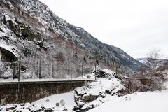 Paesaggio di inverno nelle alpi francesi Immagini Stock