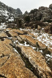 Paesaggio di inverno nelle montagne Fotografia Stock