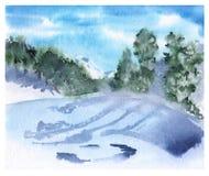 Paesaggio di inverno nelle montagne Cartolina d'auguri Fotografia Stock Libera da Diritti