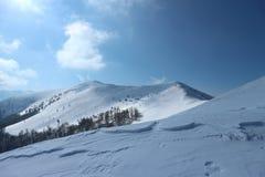 Paesaggio di inverno nelle montagne innevate Immagine Stock Libera da Diritti