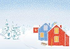 Paesaggio di inverno in neve illustrazione di stock