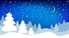 Paesaggio di inverno di notte Fondo di vettore nell'allungamento di 16:9 illustrazione di stock