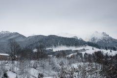 Paesaggio di inverno Paesino di montagna nella crusca, rumeno Carpathians Fotografia Stock