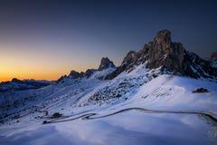 Paesaggio di inverno di Passo Giau, dolomia, Italia Immagine Stock Libera da Diritti