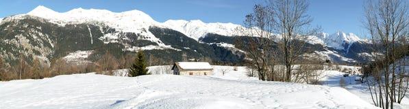 Paesaggio di inverno a Prato Leventina Fotografia Stock Libera da Diritti