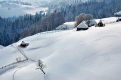 Paesaggio di inverno in Romania Immagini Stock