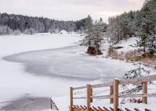 Paesaggio di inverno - scale giù al lago congelato della foresta Fotografie Stock Libere da Diritti