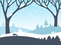 Paesaggio di inverno Scena della natura di vettore Fotografia Stock Libera da Diritti