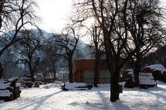 Paesaggio di inverno sulla costa del fiume in alpi in Austria Immagini Stock