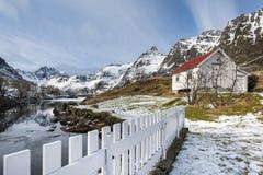 Paesaggio di inverno sulle isole di Lofoten fotografia stock libera da diritti