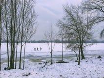 Paesaggio di inverno: un fiume coperto di ghiaccio, i tronchi di albero, tre persone sta camminando sul ghiaccio fotografia stock libera da diritti