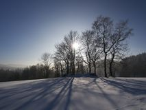 Paesaggio di inverno vicino a Jablonec nad Nisou, repubblica Ceca fotografia stock libera da diritti