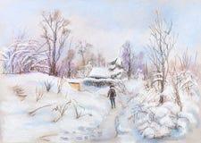 Paesaggio di inverno in villaggio Immagini Stock Libere da Diritti