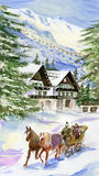 Paesaggio di inverno, villaggio di montagna-corsa con gli sci illustrazione di stock