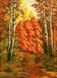 Paesaggio di legno di autunno illustrazione vettoriale