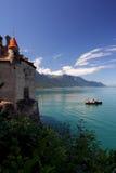 Paesaggio di Leman del castello e della bacca di Shillon Fotografie Stock