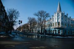 Paesaggio di marzo della città Cerkassy, Ucraina, il 24 marzo 2018 Fotografie Stock