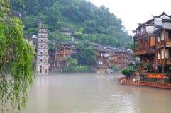 Paesaggio di mattina della città antica di FengHuang Fotografie Stock