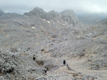 Paesaggio di morfologia carsica di Barran nelle alpi europee vicino alla montagna di Triglav Fotografie Stock