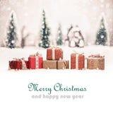 Paesaggio di Natale con i regali Immagini Stock Libere da Diritti