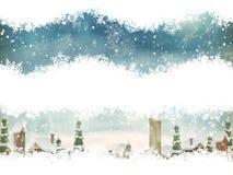 Paesaggio di Natale con l'albero di Natale ENV 10 Fotografia Stock