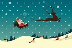 Paesaggio di natale di inverno con i bambini dell'estremità della Santa Immagini Stock Libere da Diritti