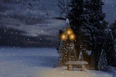 Paesaggio di nevicata di inverno con la posta della lampada e del banco fotografie stock libere da diritti