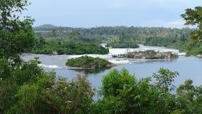 Paesaggio di Nilo del fiume vicino a Jinja nell'Uganda Fotografia Stock