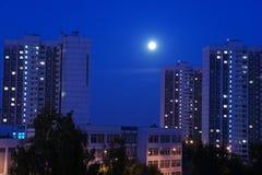 Paesaggio di notte con la luna e le nuvole Fotografia Stock Libera da Diritti