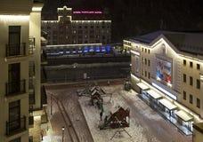 Paesaggio di notte con neve in Rose Valley Immagini Stock Libere da Diritti