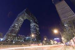 Paesaggio di notte del CCTV sotto il chiaro cielo fotografia stock