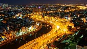 Paesaggio di notte dell'impressione della città dell'Asia immagini stock libere da diritti