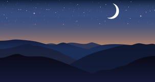 Paesaggio di notte della montagna di vettore Fotografia Stock