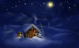 Paesaggio di notte di Natale - capanna, neve, pini, luna e stelle Fotografia Stock