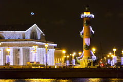 Paesaggio di notte di Sankt Pietroburgo Immagini Stock