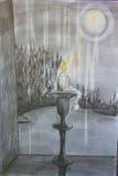Paesaggio di notte e della candela fotografia stock libera da diritti