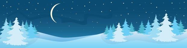 Paesaggio di notte di inverno Panorama Fotografia Stock Libera da Diritti