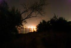 Paesaggio di notte sulle rive del Mar Nero Fotografia Stock Libera da Diritti