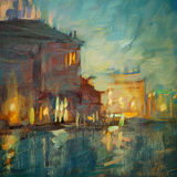 Paesaggio di notte a Venezia, dipingente Fotografia Stock Libera da Diritti