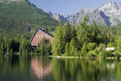 Paesaggio di paesaggio del lago in alti tatras Fotografia Stock