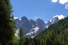 Paesaggio di panorama della gamma di Pale di San Martino durante la stagione estiva Paesaggio di estate di Passo Rolle - gamma di immagini stock
