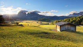 Paesaggio di panorama della montagna di verde di alba delle alpi, Alpe di Siusi Fotografia Stock