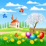 Paesaggio di Pasqua Fotografie Stock