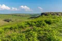 Paesaggio di punta del distretto, visto dal tor di Higger, South Yorkshire, Inghilterra, Regno Unito immagine stock libera da diritti