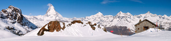 Paesaggio di punta di panorama del Matterhorn Immagine Stock